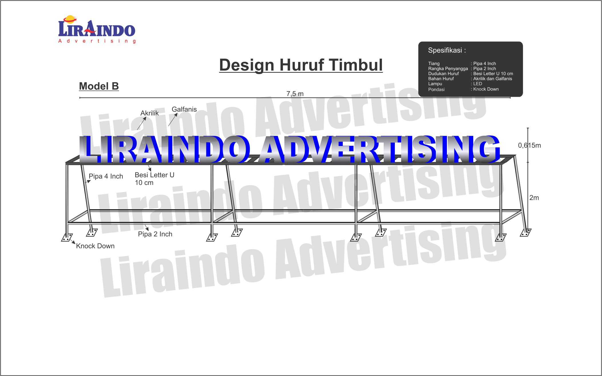 Design Huruf Timbul Model B